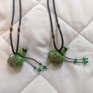 Set of TWO Cork Vial Necklaces